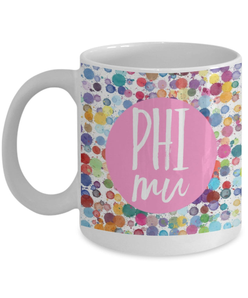 Greek Sorority Mug - Phi Mu Dots- 11 oz Gift Mug