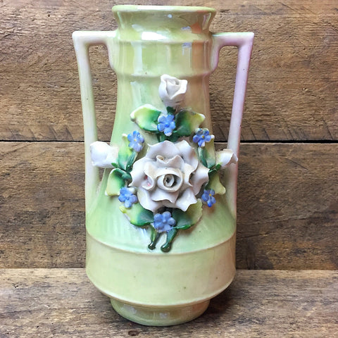 Vintage Flower Vase with Raised Flowers Made in Germany