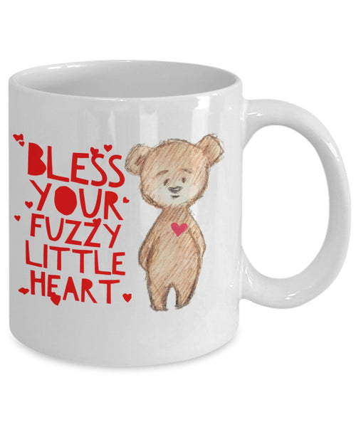 Blessed Mug - Bless Your Fuzzy Little Heart Bear Hearts - 11 oz Gift Mug