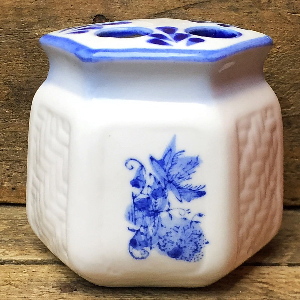 Vintage Blue and White Porcelain Toothbrush Holder