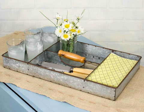 Anderson Tray - four sectioned galvanized farmhouse industrial tray