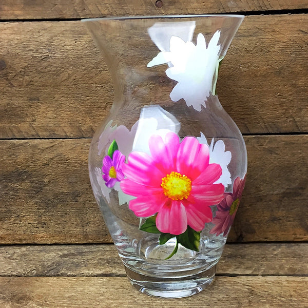 "Teleflora Pink and Lavender Flowers Glass Vase 6.75"" H"