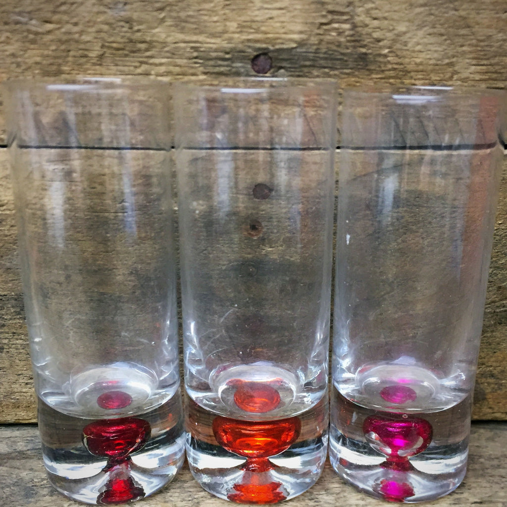 Set of 3 Tall Cordial Shot Glasses Colorful Base
