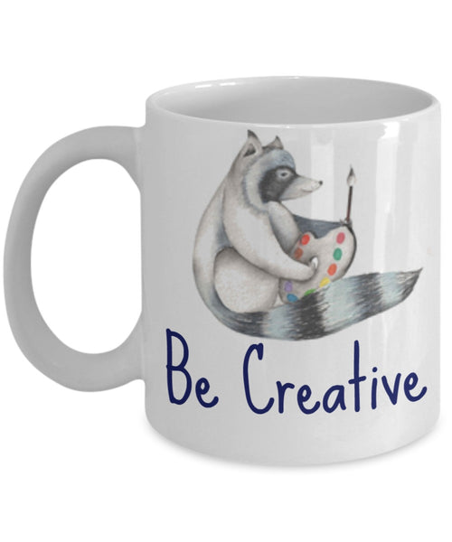 Inspire Mug - Be Creative Raccoon Painter - 11 oz Gift Mug