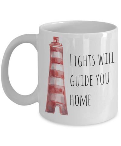 Inspire Lighthouse Mug - Lights Will Guide You Home - 11 oz Gift Mug
