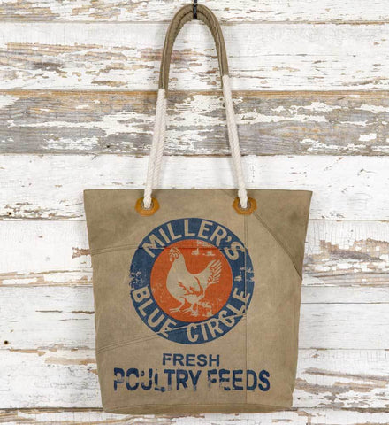 Miller's Blue Circle Feed Sack Tote Bag - farmhouse rustic style