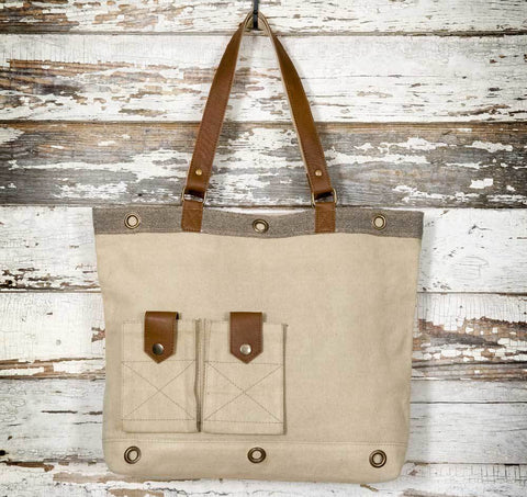 Casual Canvas and Leather Tote Bag - natural