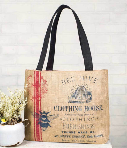 "Burlap Bee Hive ""Clothing House"" Tote Bag - Farmhouse"