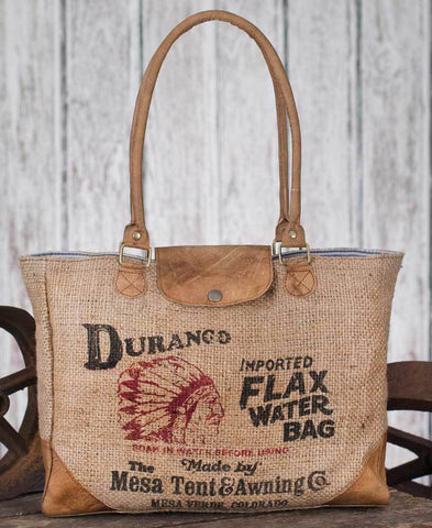 Durango Water Burlap Bag Tote - farmhouse bag