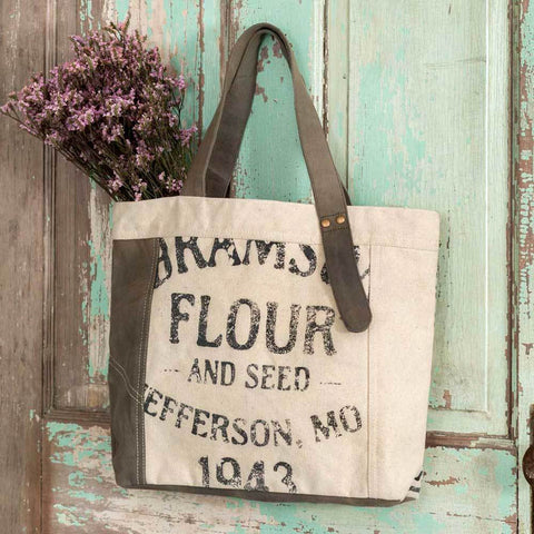 Flour and Seed Sack Tote Bag - farmhouse rustic