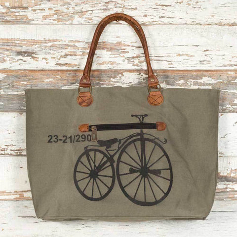 Large Canvas Tote Bag with Retro Bicycle Graphic