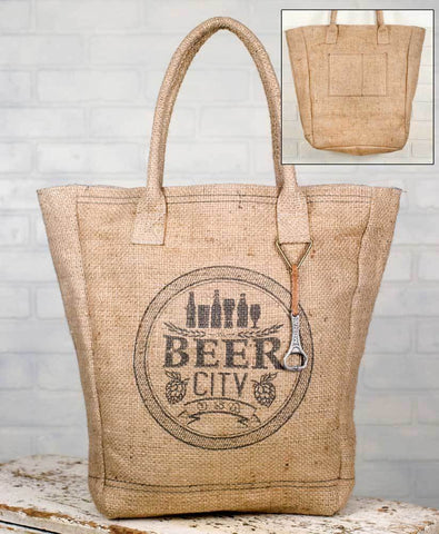 Burlap Beer City Market Bag - with a beer opener attached!