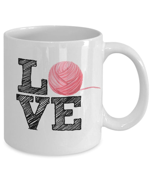 Knitters Mug - Love Tarn Ball - 11 oz Gift Mug