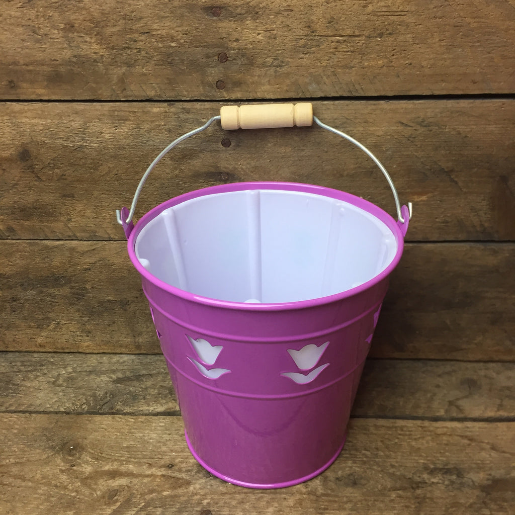 Purple Spring Tin Mini Bucket with Tulip Cut-out Design