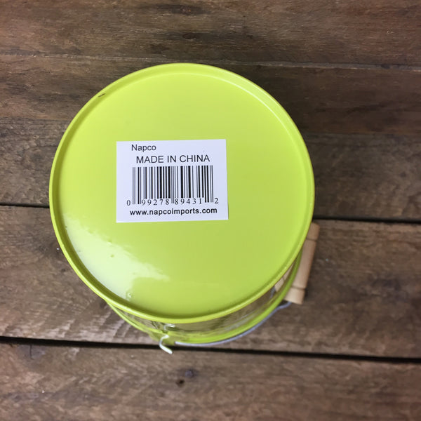Lime Green Spring Tin Mini Bucket with Tulip Cut-out Design