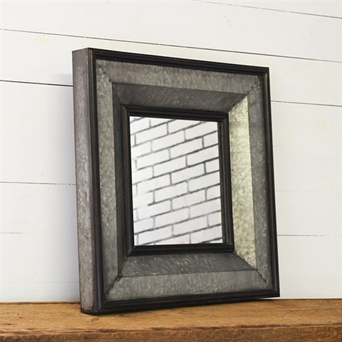 "Galvanized Tin Framed Mirror 27.5"" x 27.5"""
