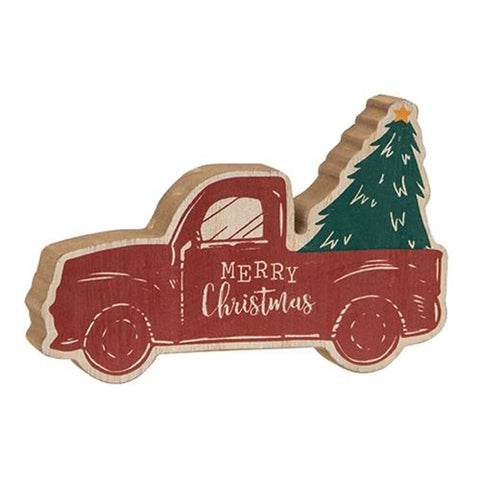 Merry Christmas Chunky Truck with Tree Shelf Sitter