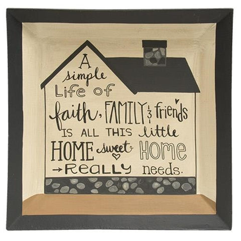 Simple Life is all This Home Needs Decorative Square Plate