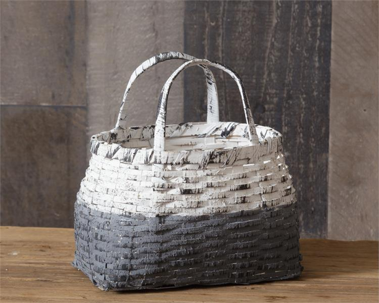 Grey and White Two Toned Handled Distressed Basket