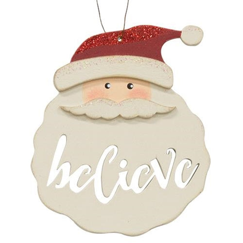 Santa Believe Painted Wood Ornament