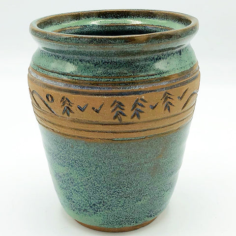 Handcrafted Mountains and Trees Pottery Vase