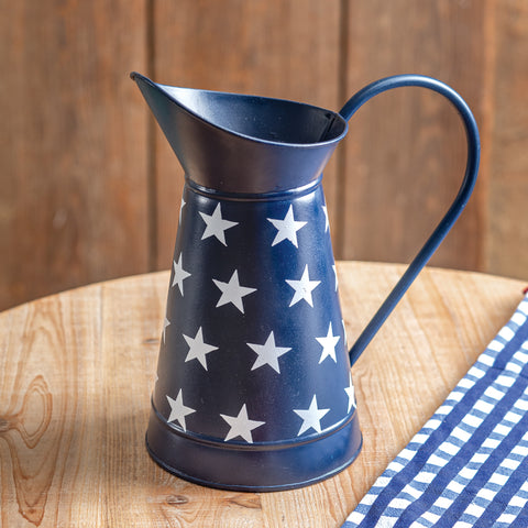 Navy Blue Metal Pitcher with White Stars