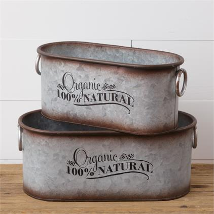 Set of 2 Organic 100% Natural Galvanized Oval Tins