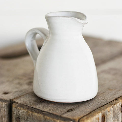 "White Stoneware 4"" Mini Pitcher"