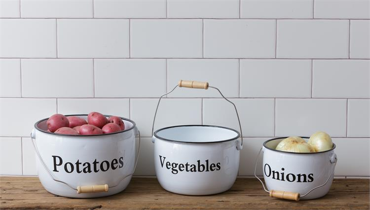 Set of 3 Enamelware Pots - Potatoes Vegetables Onions