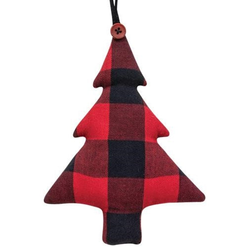 Red Buffalo Check Fabric Tree Ornament