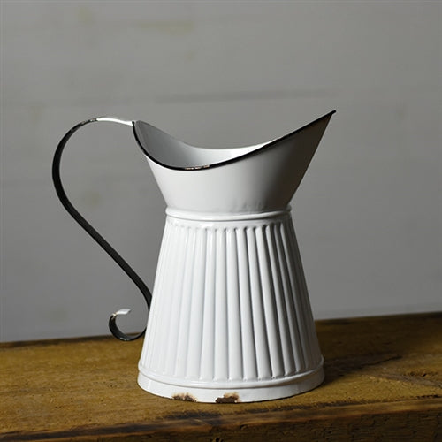 Distressed Large White Tin Ridged Pitcher