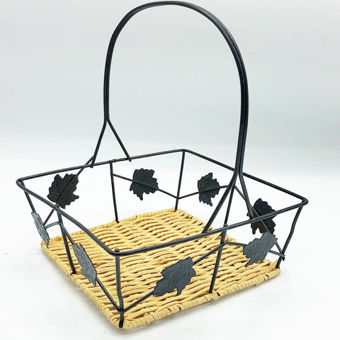 Small Metal Leaf Square Basket