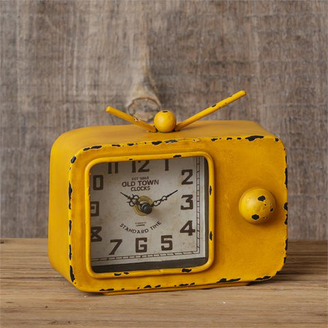 Retro-style Television Clock Yellow Distressed Color