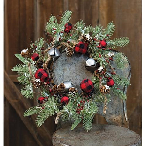 "Buffalo Gingham Country Holiday 17"" Faux Wreath"