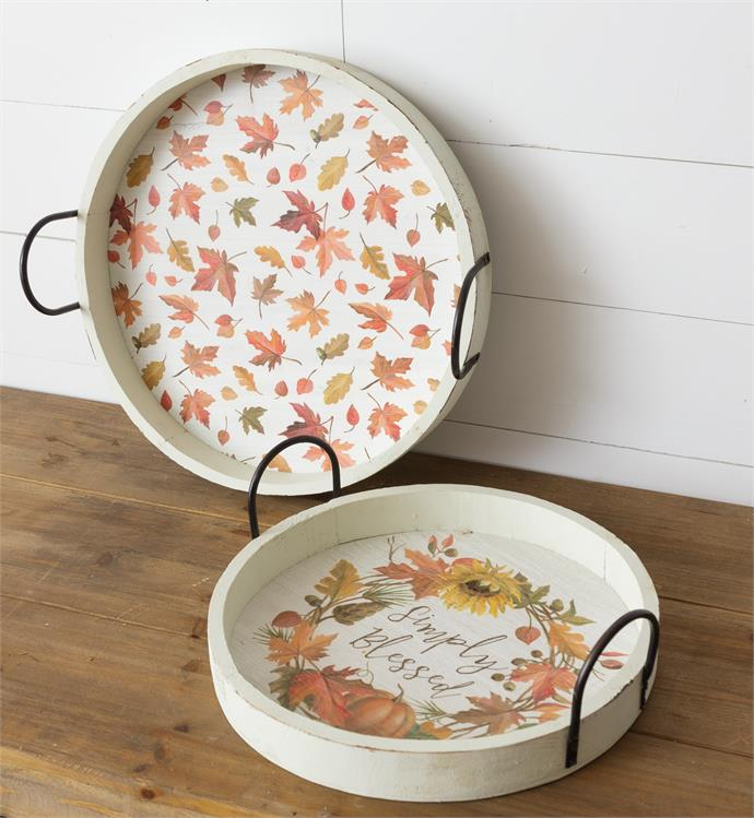 Set of 2 Harvest Home Simply Blessed Round Trays