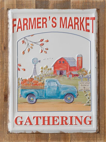 Farmer's Market Gathering Metal Sign Fall Blue Truck