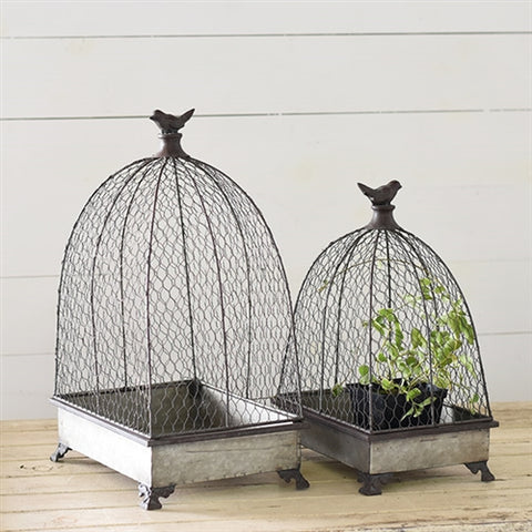 Set of Two Bird Topped Cage Tin Planters