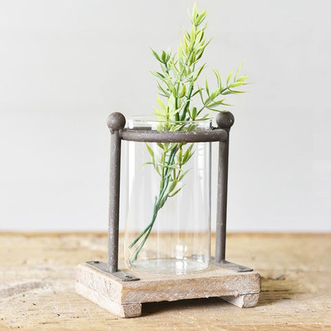 Industrial Modern Metal and Wood Stem Vase