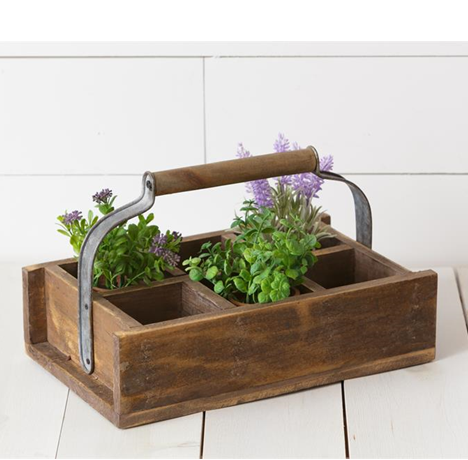 Divided Rustic Barnwood Garden Caddy