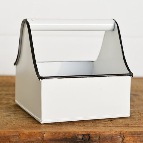 Little Square Handled White with Black Trim Caddy