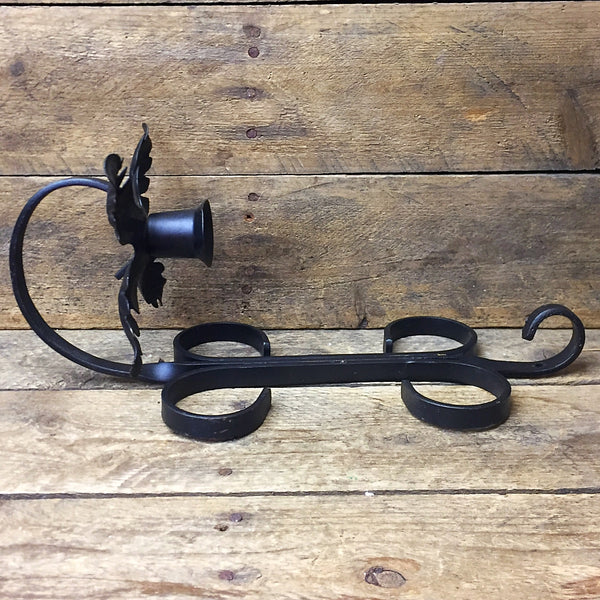 Rustic Black Metal Wall Hanging Candle Holder