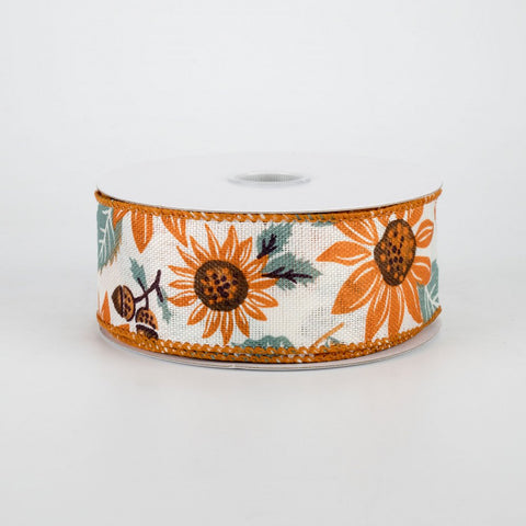 "Sunflower & Acorns Ribbon 1.5"" x 10 yards"