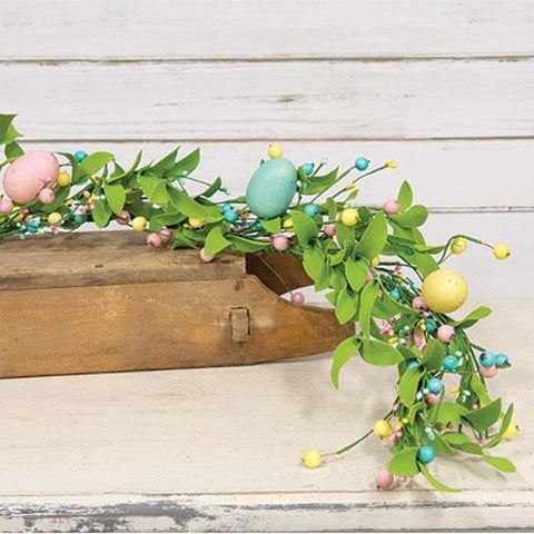 Easter Eggs & Herb Leaves 4 ft Faux Garland