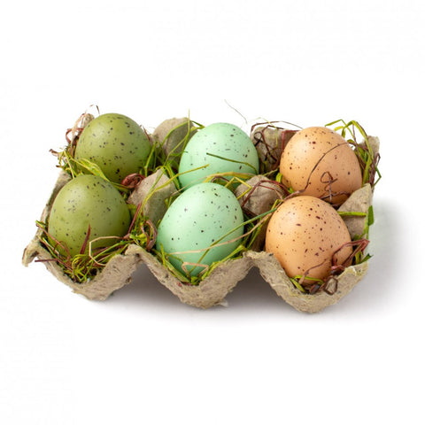 Set of 6 Natural Colored Matte Eggs in Carton