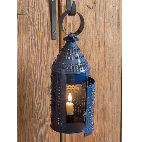 Paul Revere Blue Punched Tin Candle Lantern