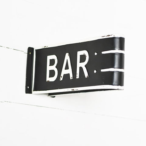 BAR Folded Black and White Tin Sign
