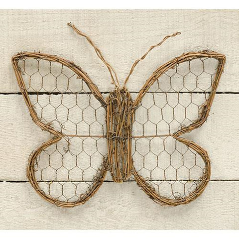 "Chicken Wire & Vine 9"" H Butterfly"