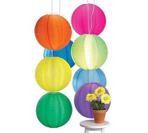 "SET OF 8 Brightly Colored 16"" Paper Lanterns"