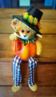 BEAR PILGRIM HOLDING SQUASH pumpkin body Thanksgiving Ganz figure