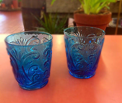 SET OF 2 VINTAGE COBALT BLUE TUMBLERS glassware Made in Italy textured